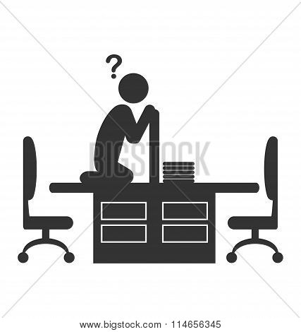 Flat office icon with disappeared worker isolated on white