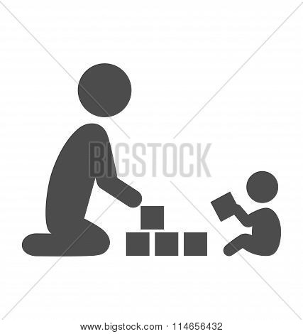 Parent plays with the baby pictogram flat icon isolated on white