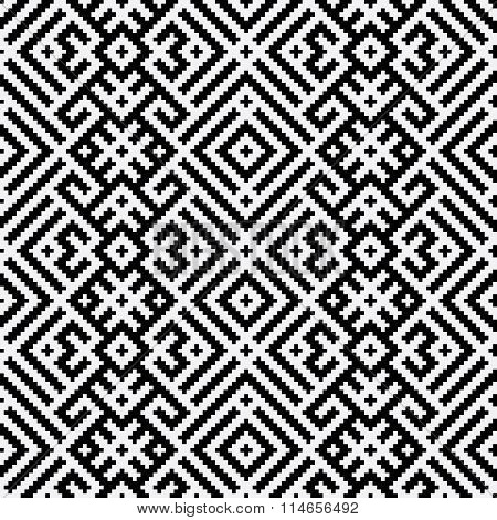 Black And White Geometric Russian Traditional Ethnic Seamless Pattern