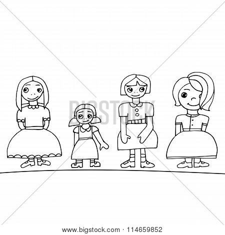 Black Outline Colored Set Of Four Cute Graphic Hand Drawn Girls