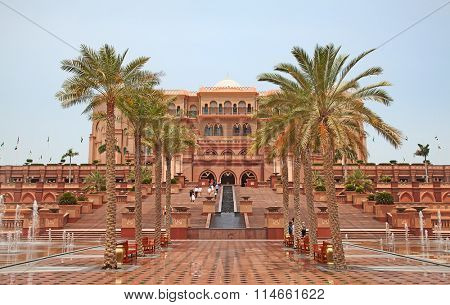 ABU DHABI, UAE - APRIL 27: Gate to the Emirates Palace hotel on April 27, 2014, UAE. Seven stars Emirates Palace is the second most expensive hotel ever built for about 6 billion USD.