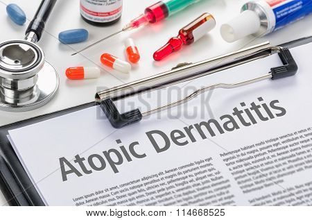 The Diagnosis Atopic Dermatitis Written On A Clipboard