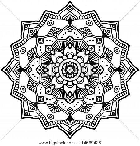 Black decorative graphic Indian mandala for design or mendie