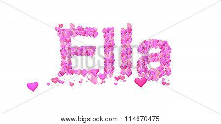 Ella Female Name Set With Hearts Type Design