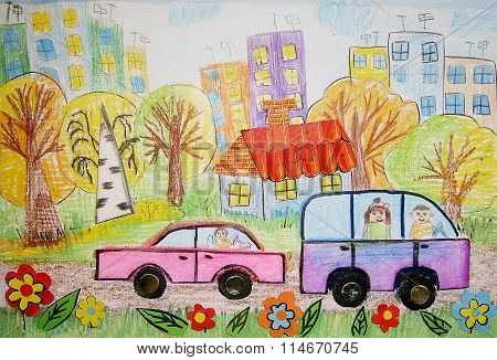 Children's Drawing Of The Bus And Car