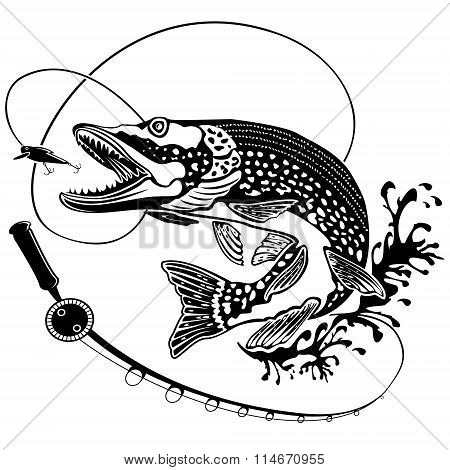 Pike Fish With Fishing Rod Black White