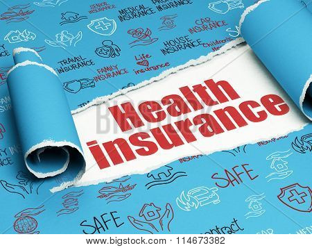 Insurance concept: red text Health Insurance under the piece of  torn paper