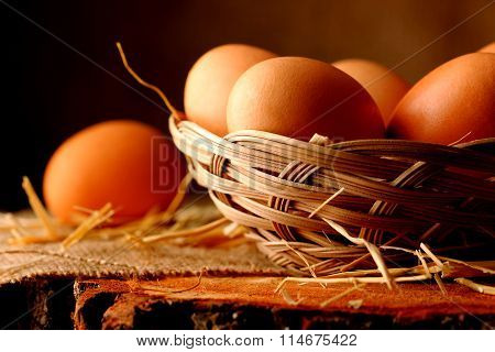 Eggs on wooden.