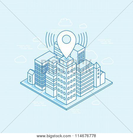 Vector Isometric City Illustration