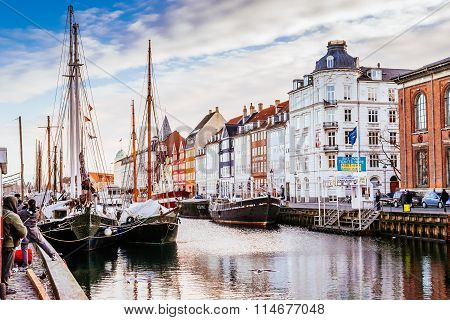 Copenhagen, Denmark - January 3, 2015: Nyhavn District Is One Of The Most Famous Landmarks In Copenh