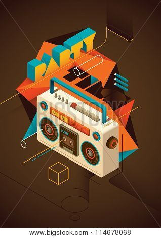 Isometric party background. Vector illustration.
