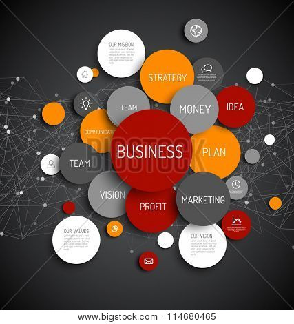 Vector Abstract Business infographic schema - dark red and orange version