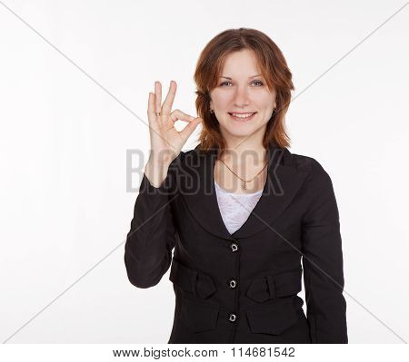 Young Business Woman Showing A Gesture All Is Good