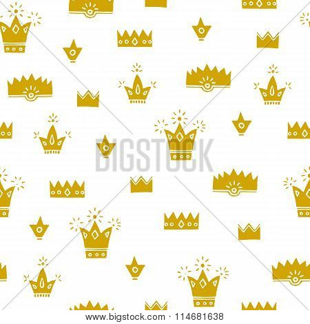 Gold Cute Crowns, Hand Drawn Vector Seamless Pattern