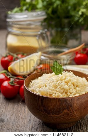 Cooked Couscous, Fresh Vegetables