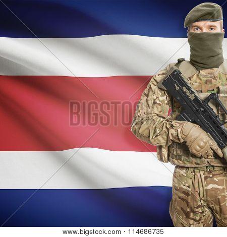 Soldier Holding Machine Gun With Flag On Background Series - Costa Rica
