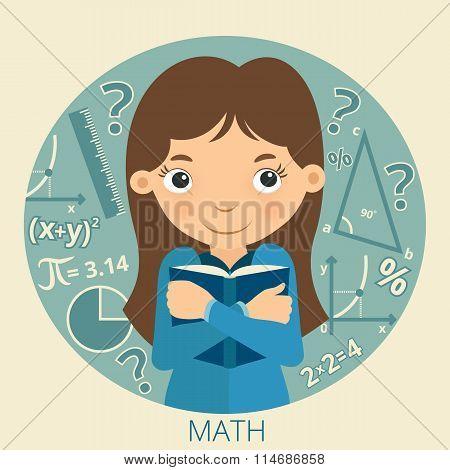 Smiling schoolgirl with textbook in her hands. Math