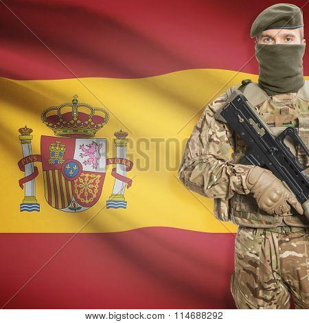 Soldier Holding Machine Gun With Flag On Background Series - Spain