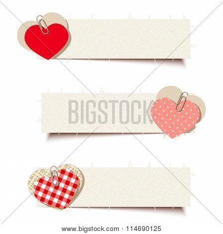 Valentine banners with paper and rag hearts. Vector eps-10.