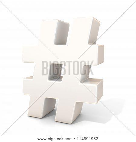 Hashtag number mark 3D white sign