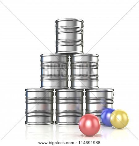 Tin cans and three balls. 3D