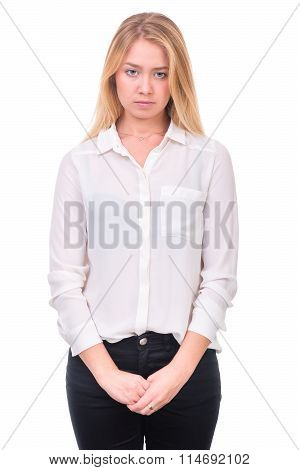 Closeup portrait of sad and depressed woman isolated on white with copyspace