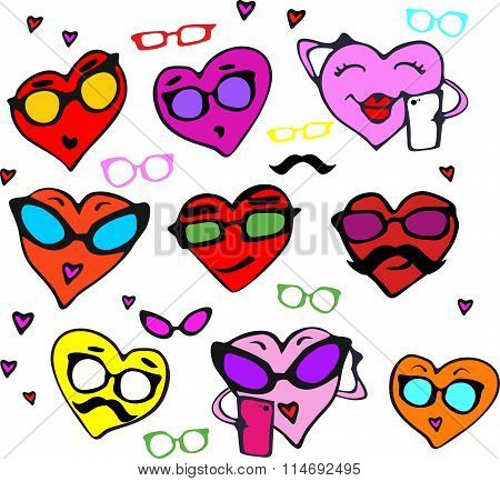 A fun set of hearts in different colors for Valentine's day. Set the hearts of hipsters with glasses