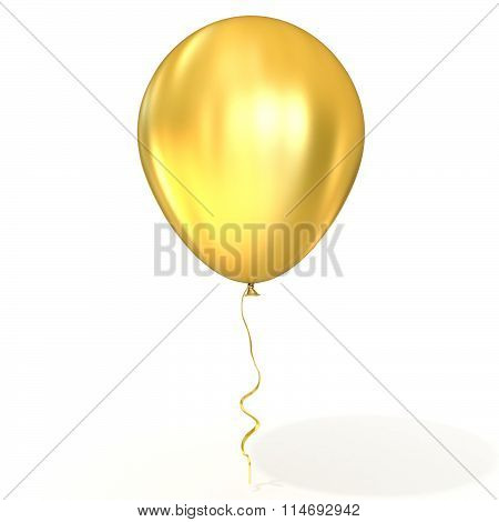 Golden balloon with ribbon