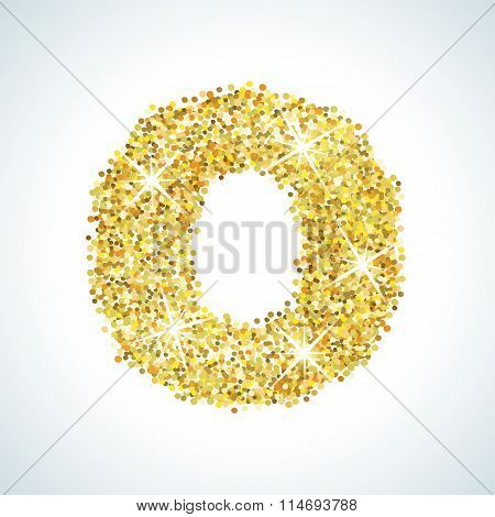 Zero number in golden style. Vector illustration gold design