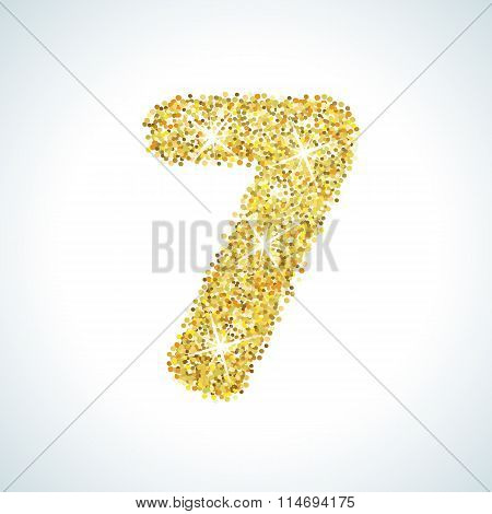 Seven number in golden style. Vector illustration gold design