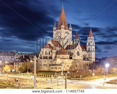 heiliger franz von assisi church and Danube river in Vienna Austria poster
