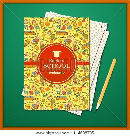 Vector school brochure on schoolboard background