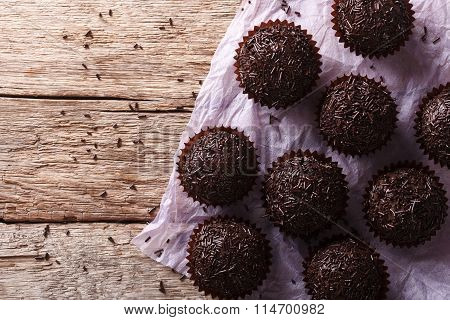 Brazil Truffle On The Table. Horizontal Top View