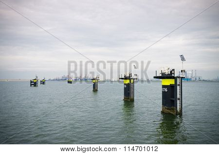 Mooring Posts In Rotterdam Harbor