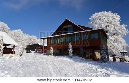 Ski Cabin In Beautiful Landscape In Alps