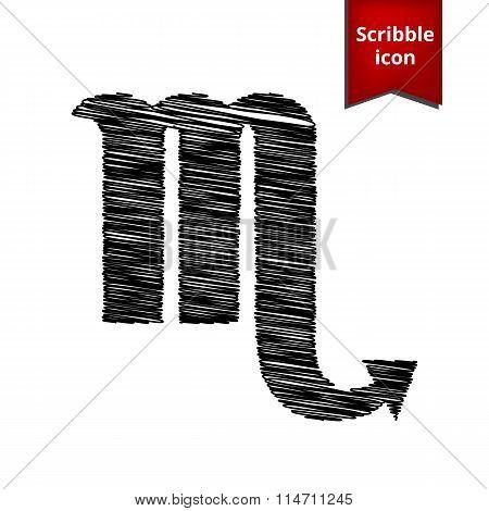 Zodiac sign Scorpio with pen effect