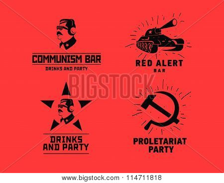 Communism style logos restaurant bar design vector template. Dictator, star and tank silhouette for