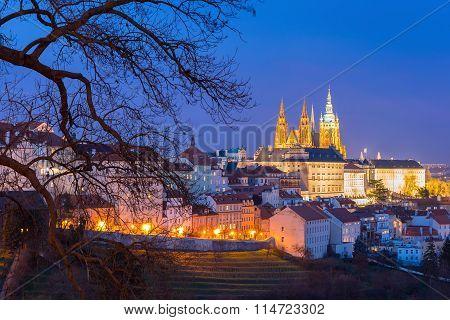 Gold Prague Castle at night, Czech Republic