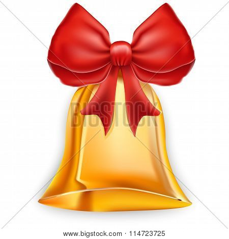 Golden Christmas Bell Isolated On White - Vector Illustration