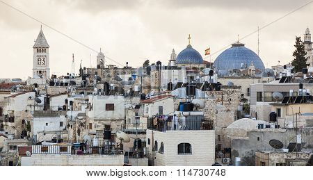 View From  Damascus Gate To Jerusalem Old Town. Israel.