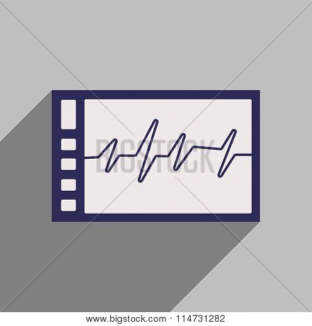 Flat style icon with long shadow cardiogram