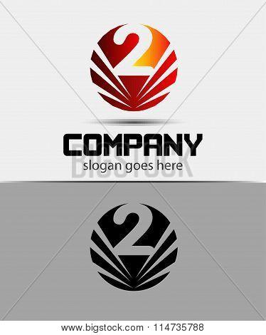 Number logo design.Number two logo