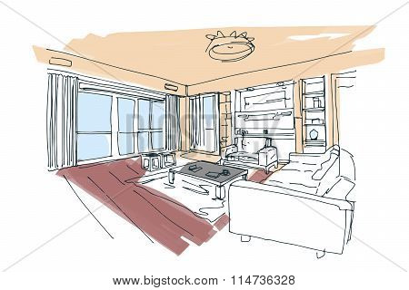 hand drawn interior