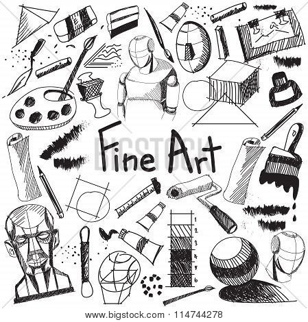 Fine Art Equipment And Stationary Handwriting Doodle And Tool Model Icon In White Isolated Backgroun