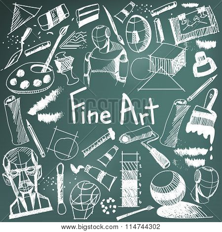 Fine Art Equipment And Stationary Handwriting Doodle And Tool Model Icon In Blackboard Background Us
