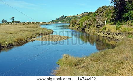 Collingwood River And Town, Golden Bay New Zealand