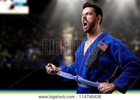 American judoka fighter in the stadium