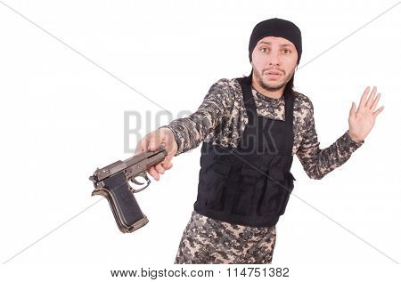 Surrendering man in military uniform holding gun isolated on white