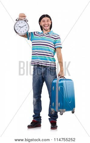 Young man with suitcase isolated on white
