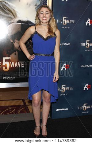 vLOS ANGELES - JAN 14:  Lia Marie Johnson at the The 5th Wave Los Angeles Premiere at the Pacific Theatres At The Grove on January 14, 2016 in Los Angeles, CA